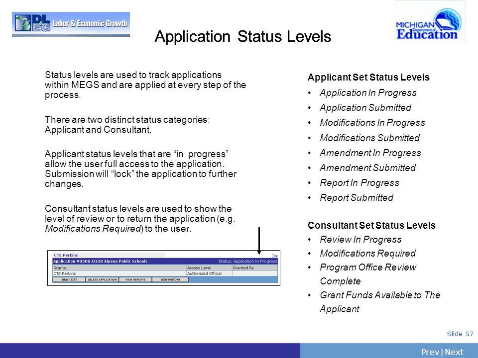 Application Status Levels