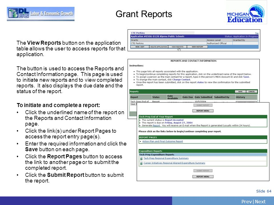 Grant Reports The View Reports button on the application table allows the user to access reports for that application.