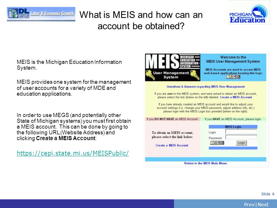 What is MEIS and how can an account be obtained