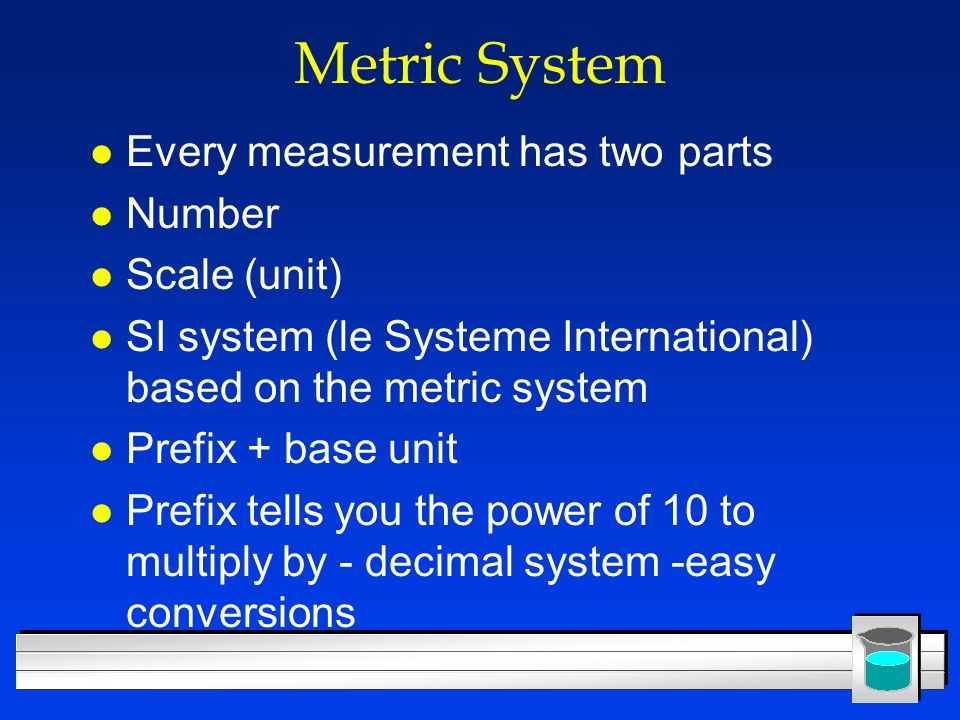 Metric System Every measurement has two parts Number Scale (unit)