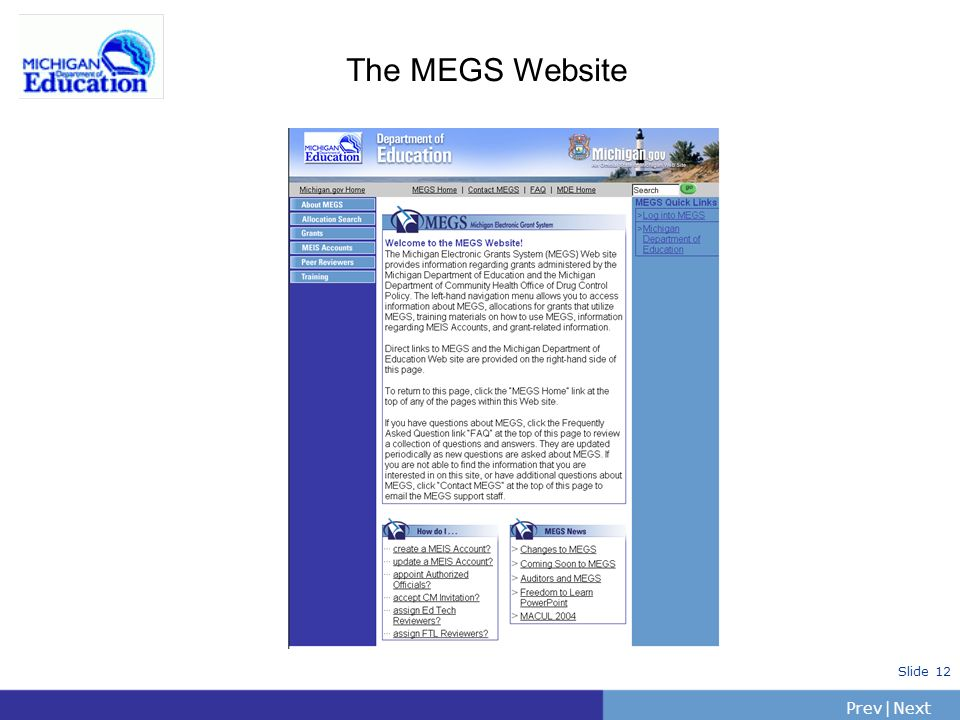 The MEGS Website