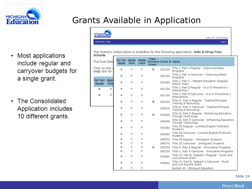 Grants Available in Application
