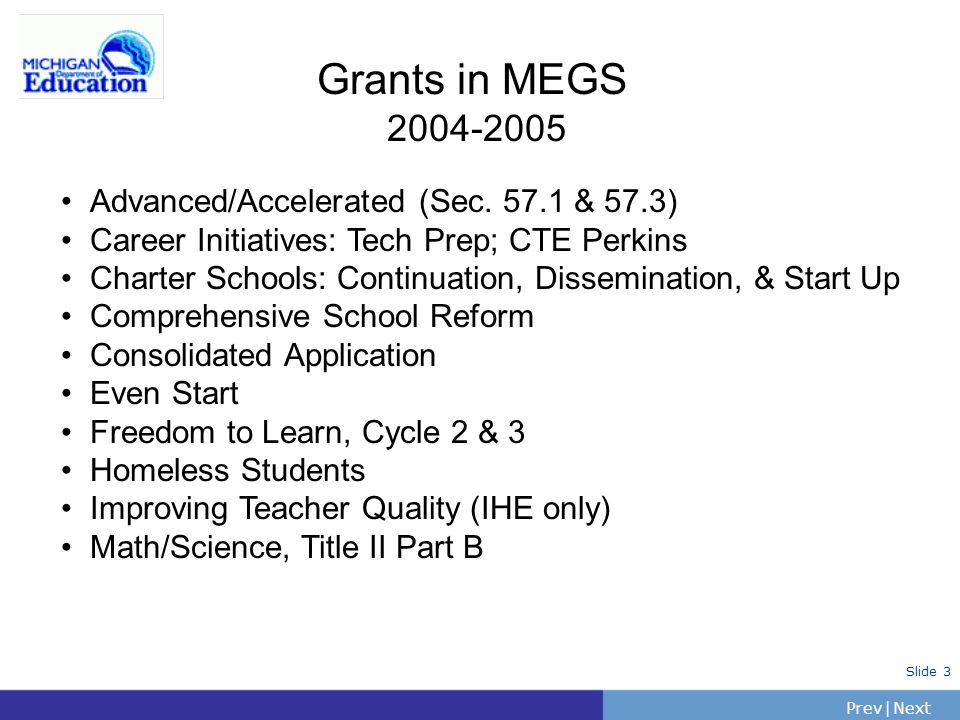 Grants in MEGS 2004-2005 Advanced/Accelerated (Sec. 57.1 & 57.3)