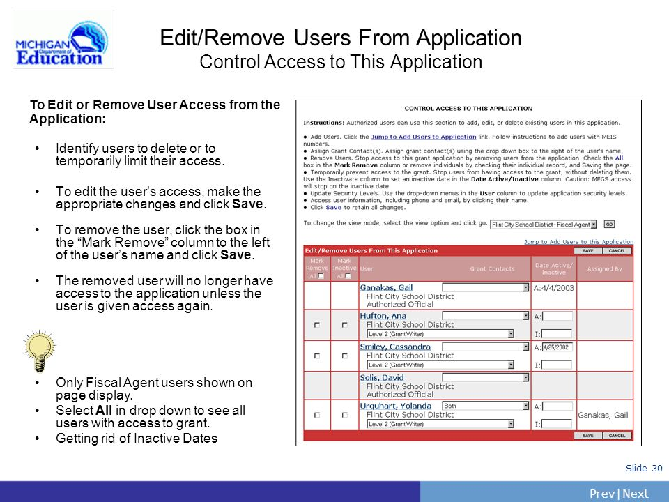 Edit/Remove Users From Application Control Access to This Application