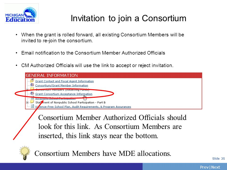 Invitation to join a Consortium