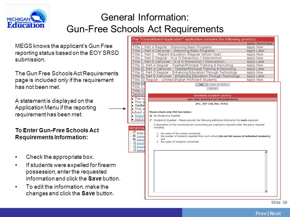 General Information: Gun-Free Schools Act Requirements