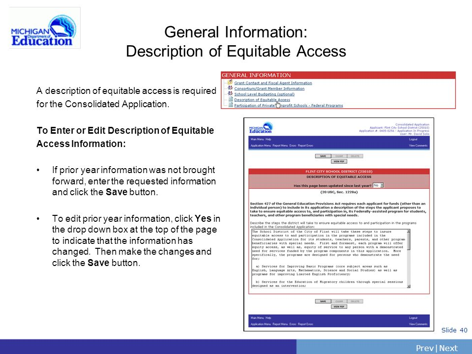 General Information: Description of Equitable Access