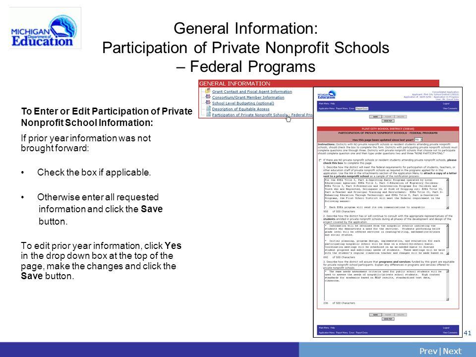 General Information: Participation of Private Nonprofit Schools – Federal Programs