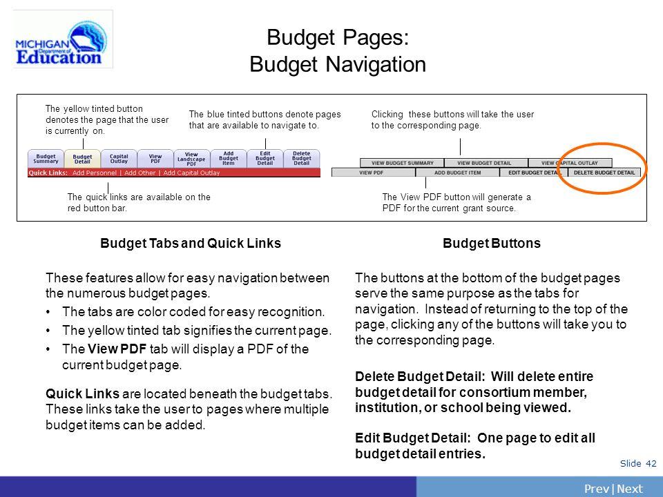 Budget Pages: Budget Navigation