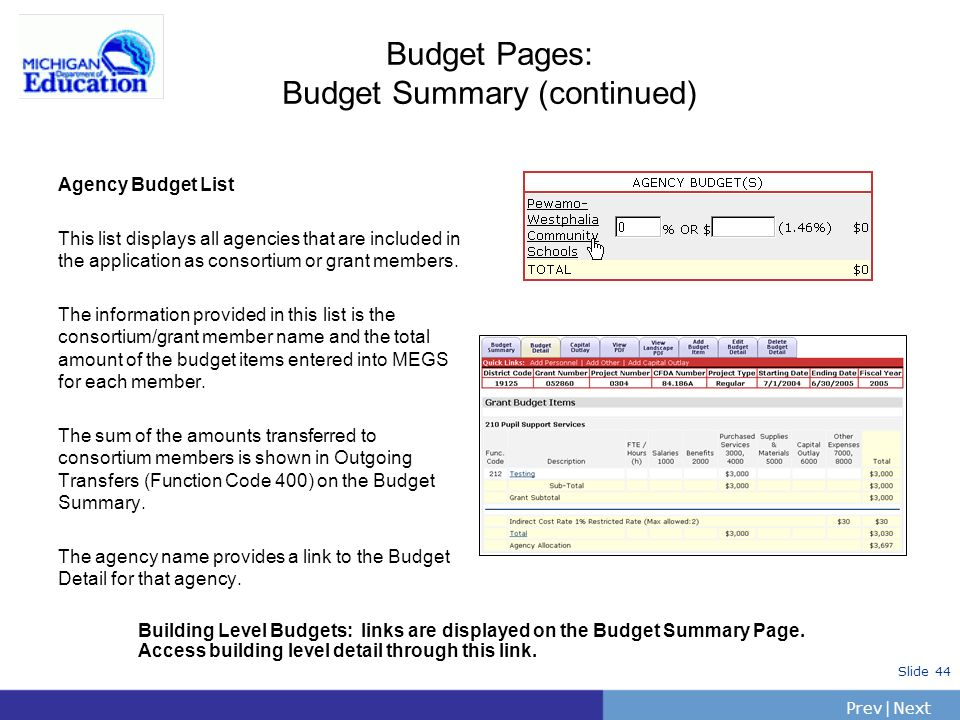 Budget Pages: Budget Summary (continued)