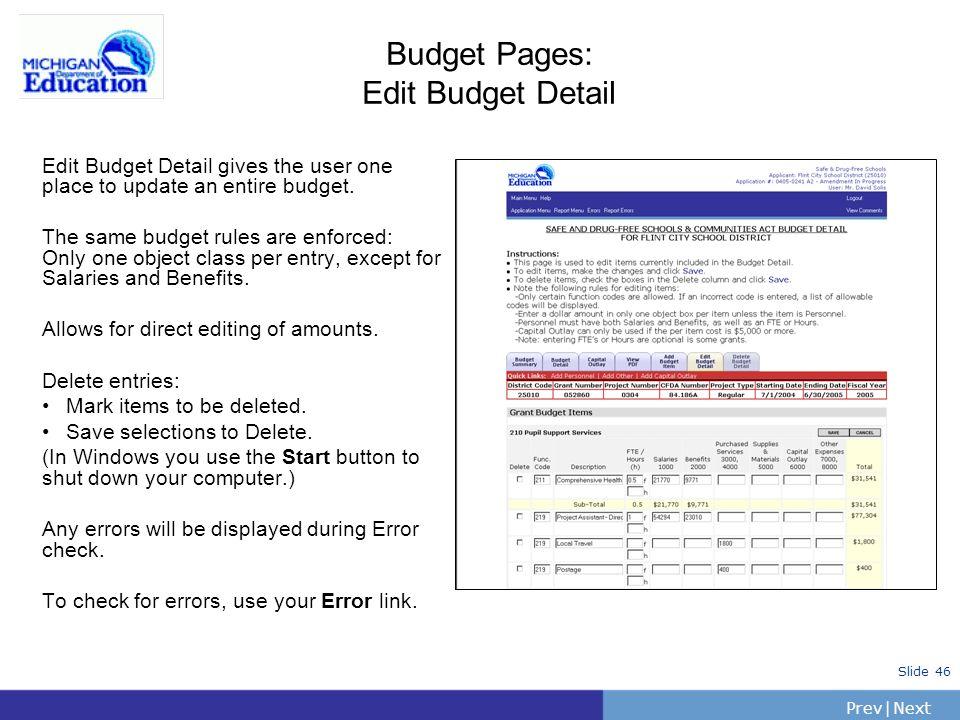 Budget Pages: Edit Budget Detail