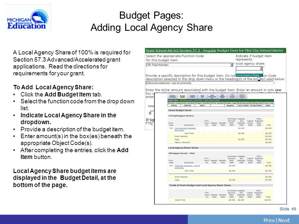 Budget Pages: Adding Local Agency Share