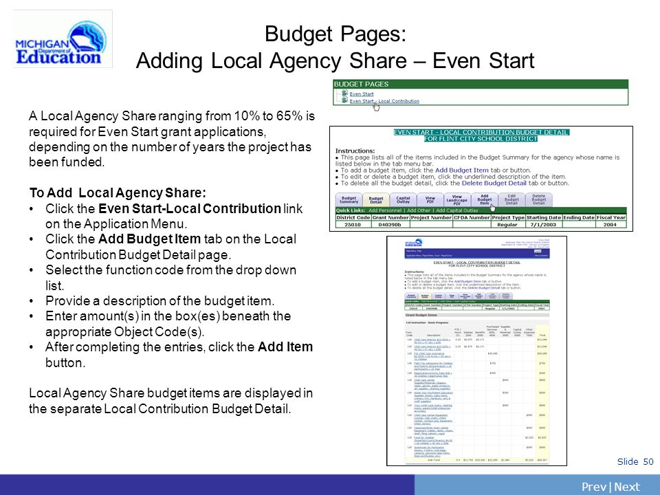Budget Pages: Adding Local Agency Share – Even Start