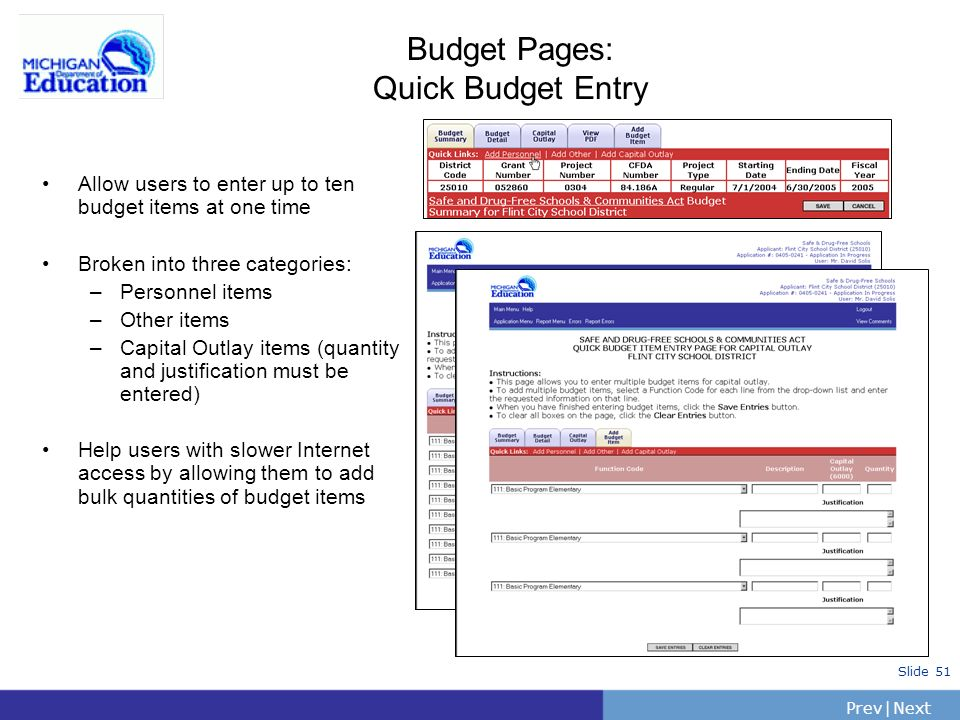 Budget Pages: Quick Budget Entry