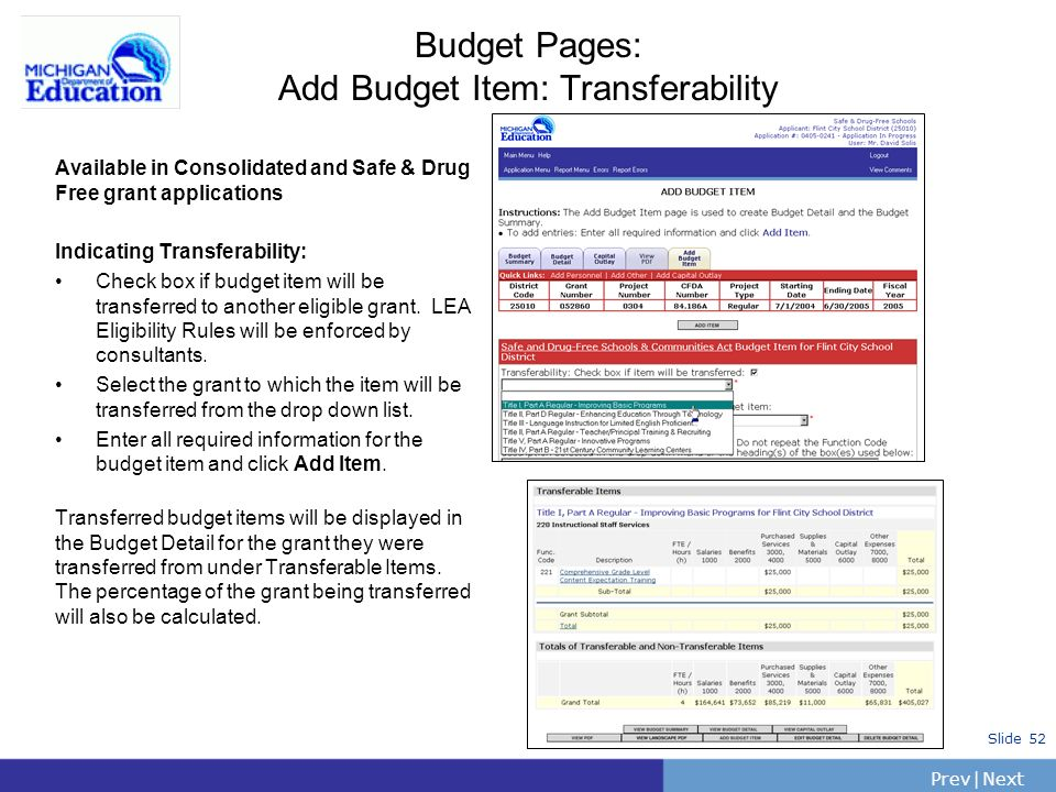 Budget Pages: Add Budget Item: Transferability