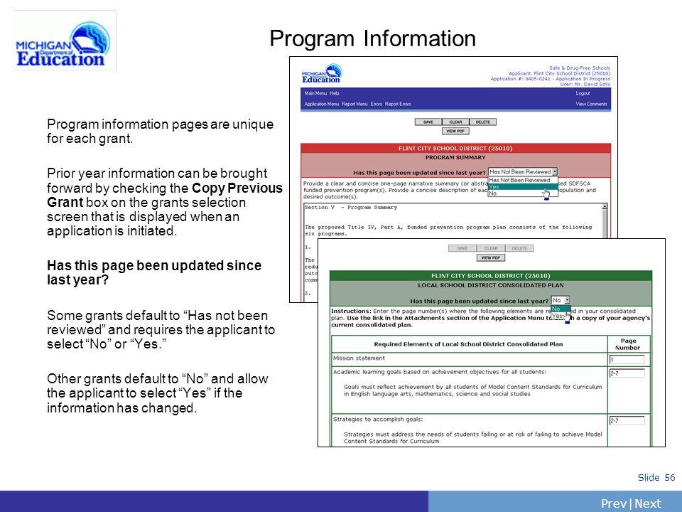Program Information Program information pages are unique for each grant.