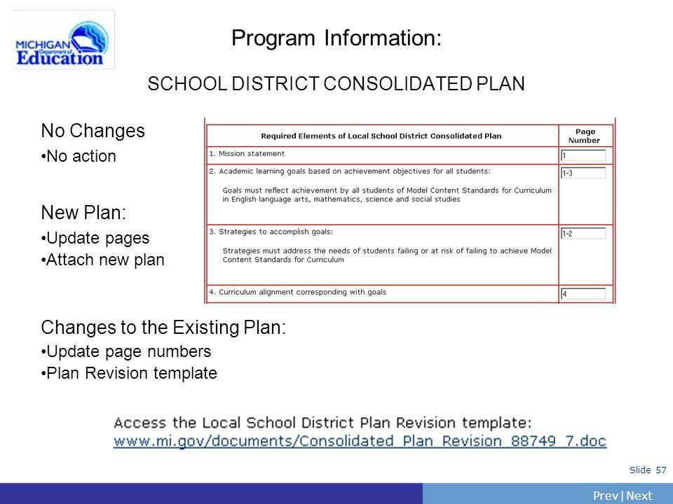 Program Information: SCHOOL DISTRICT CONSOLIDATED PLAN