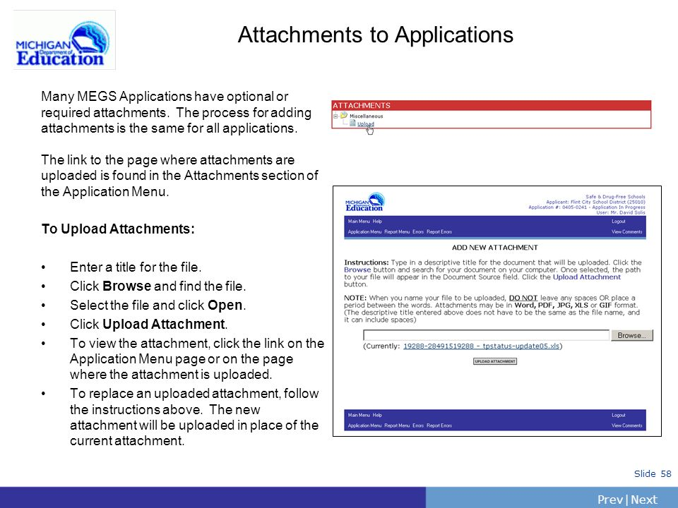 Attachments to Applications