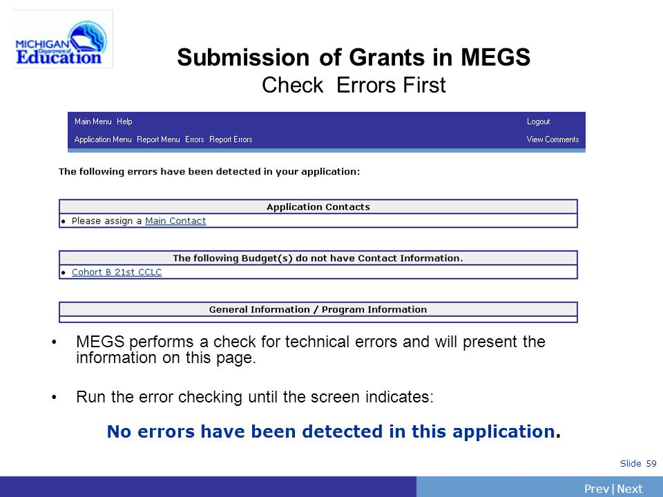 Submission of Grants in MEGS Check Errors First