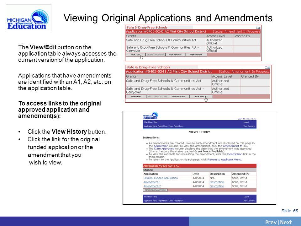 Viewing Original Applications and Amendments