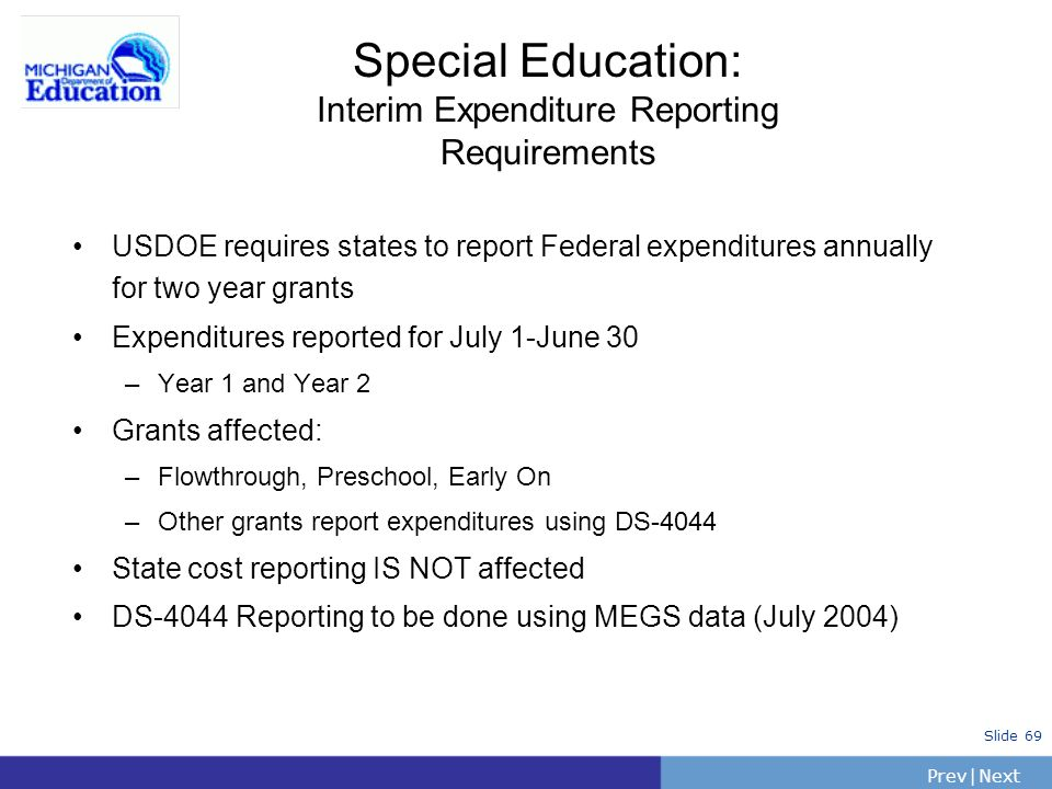 Special Education: Interim Expenditure Reporting Requirements