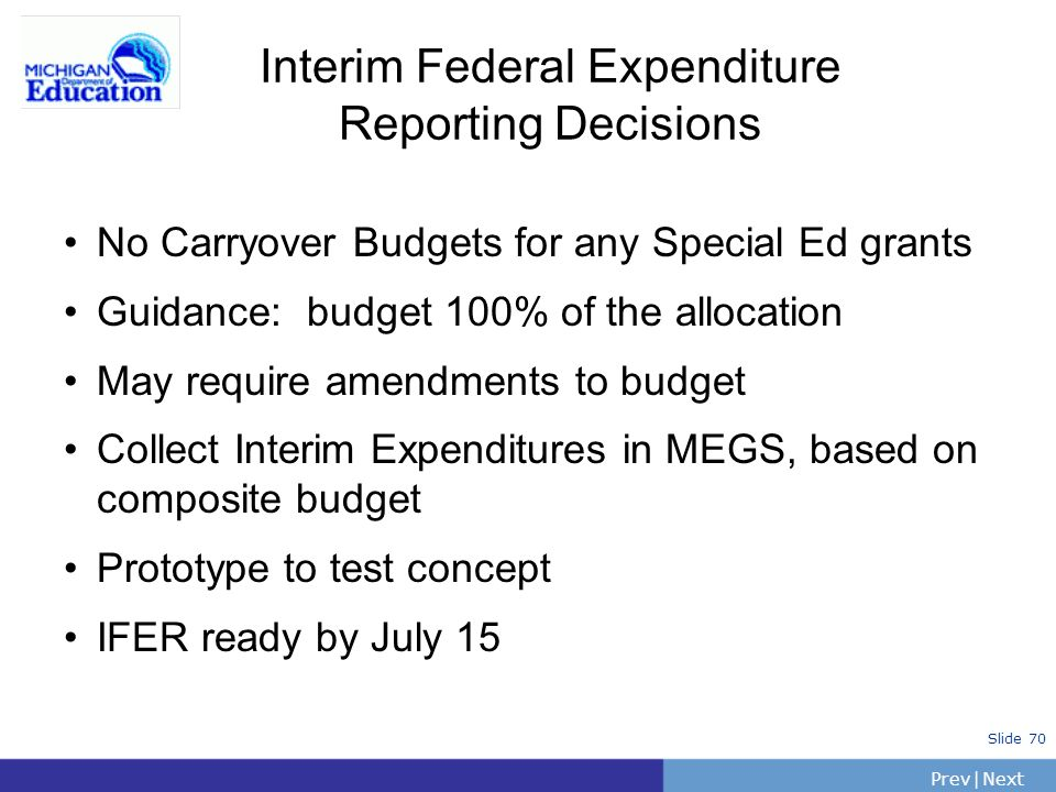 Interim Federal Expenditure Reporting Decisions