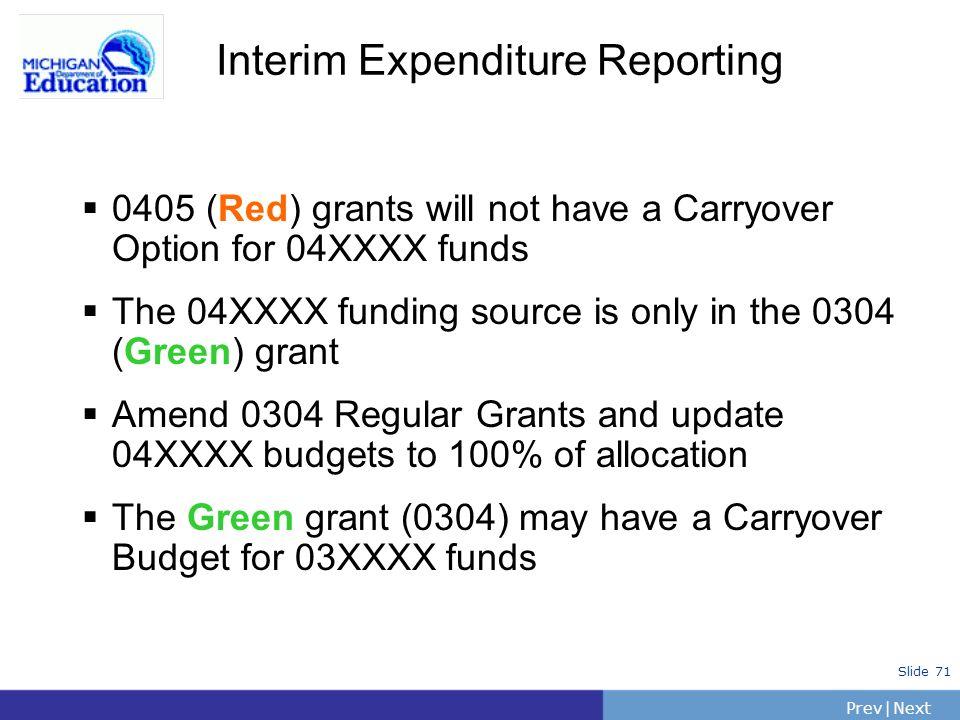 Interim Expenditure Reporting