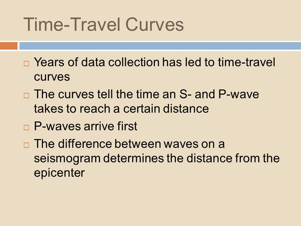 Time-Travel Curves Years of data collection has led to time-travel curves.
