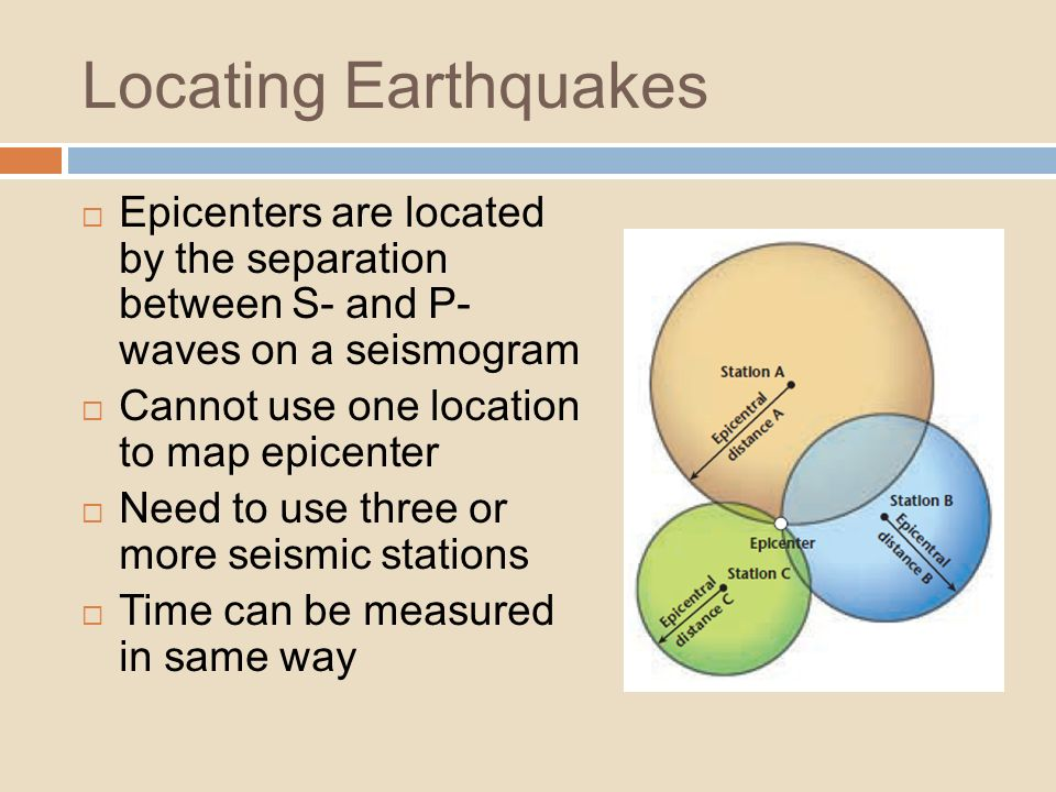 Locating Earthquakes Epicenters are located by the separation between S- and P- waves on a seismogram.