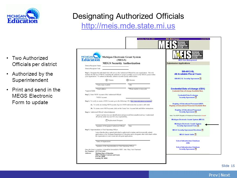 Designating Authorized Officials http://meis.mde.state.mi.us