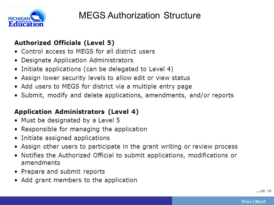 MEGS Authorization Structure