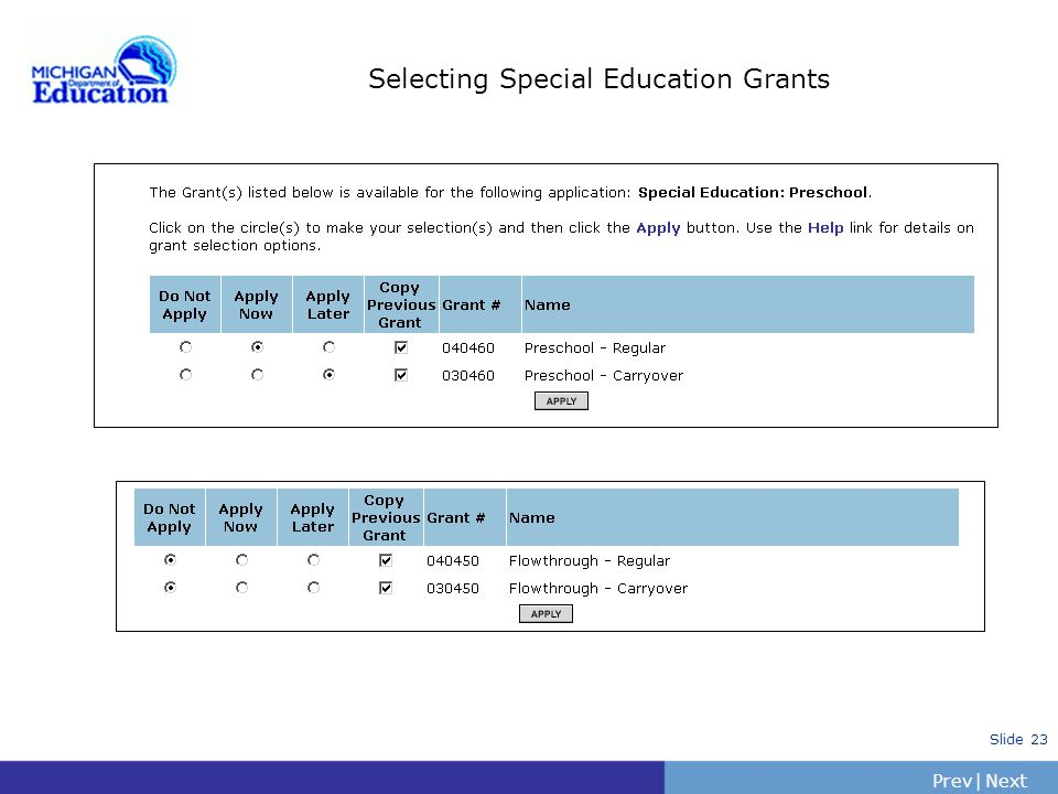 Selecting Special Education Grants