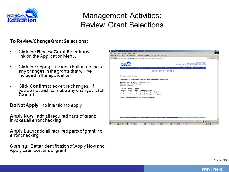 Management Activities: Review Grant Selections