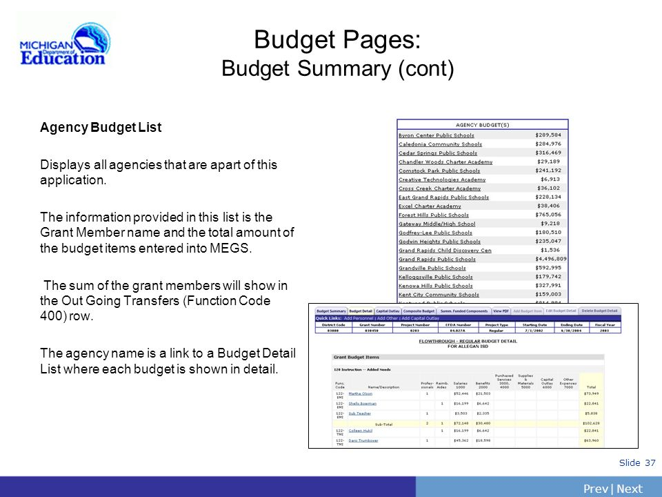 Budget Pages: Budget Summary (cont)