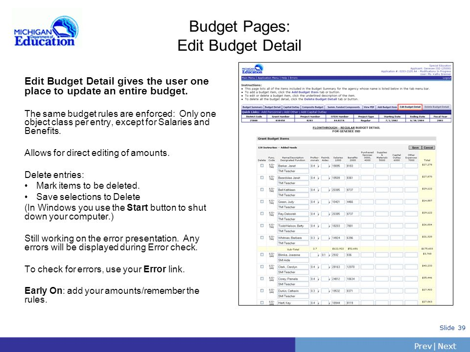 Budget Pages: Edit Budget Detail
