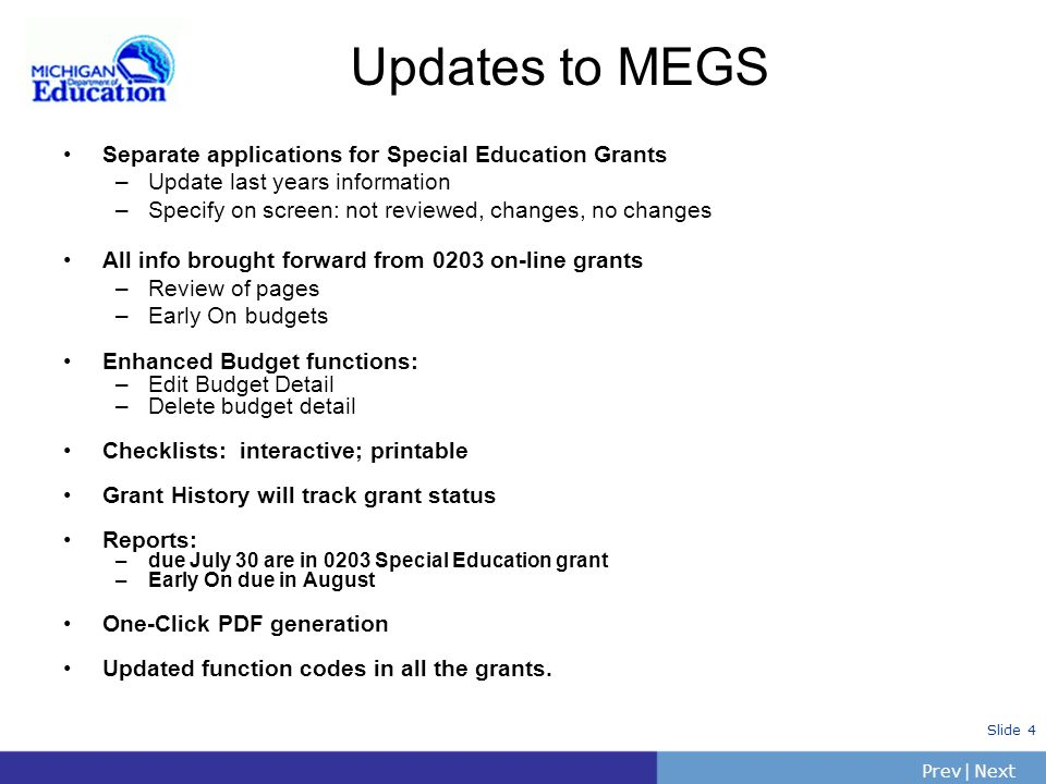 Updates to MEGS Separate applications for Special Education Grants