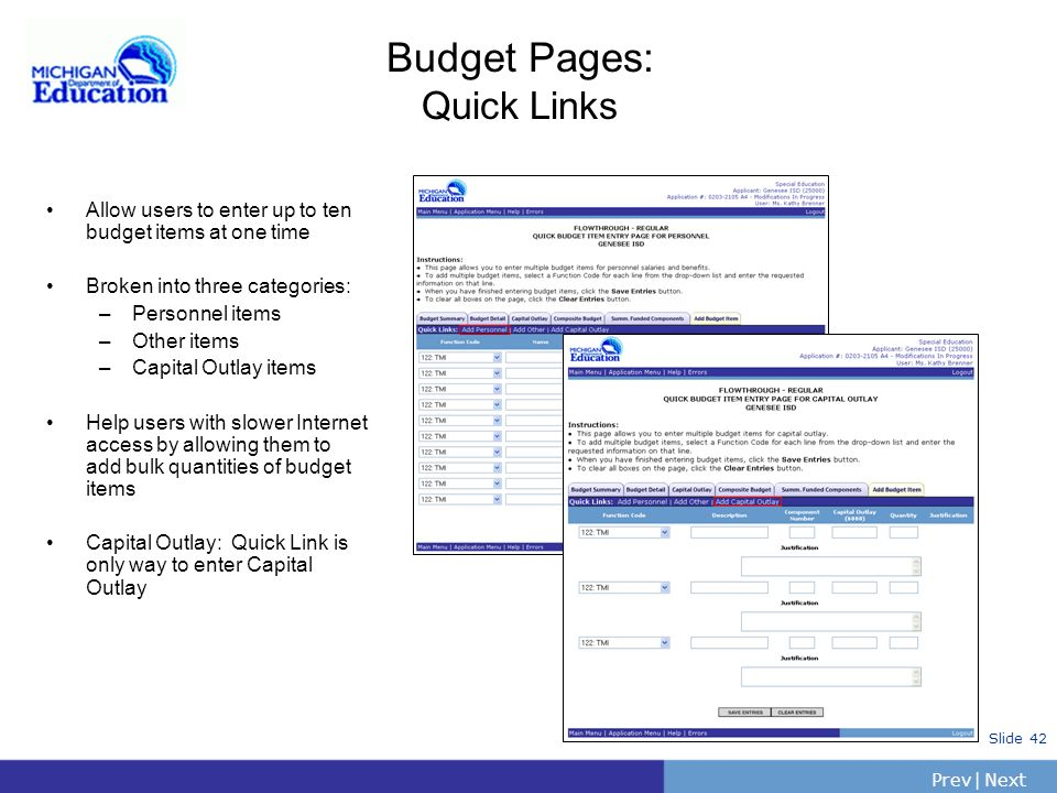 Budget Pages: Quick Links