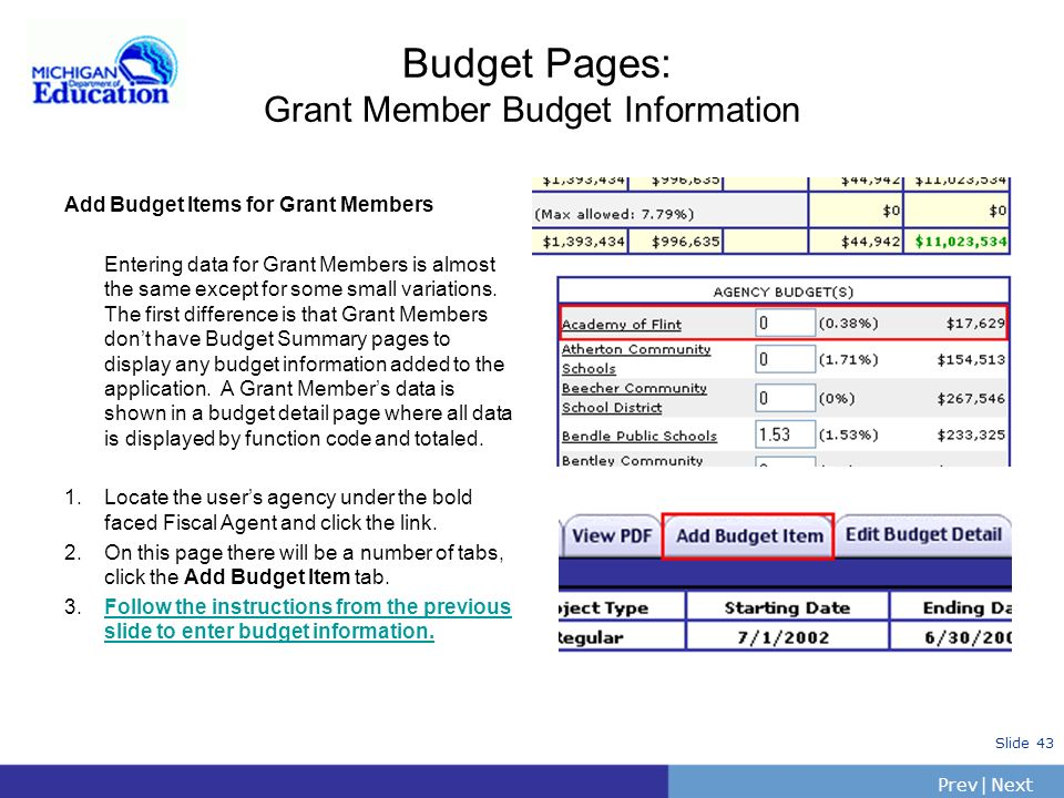 Budget Pages: Grant Member Budget Information