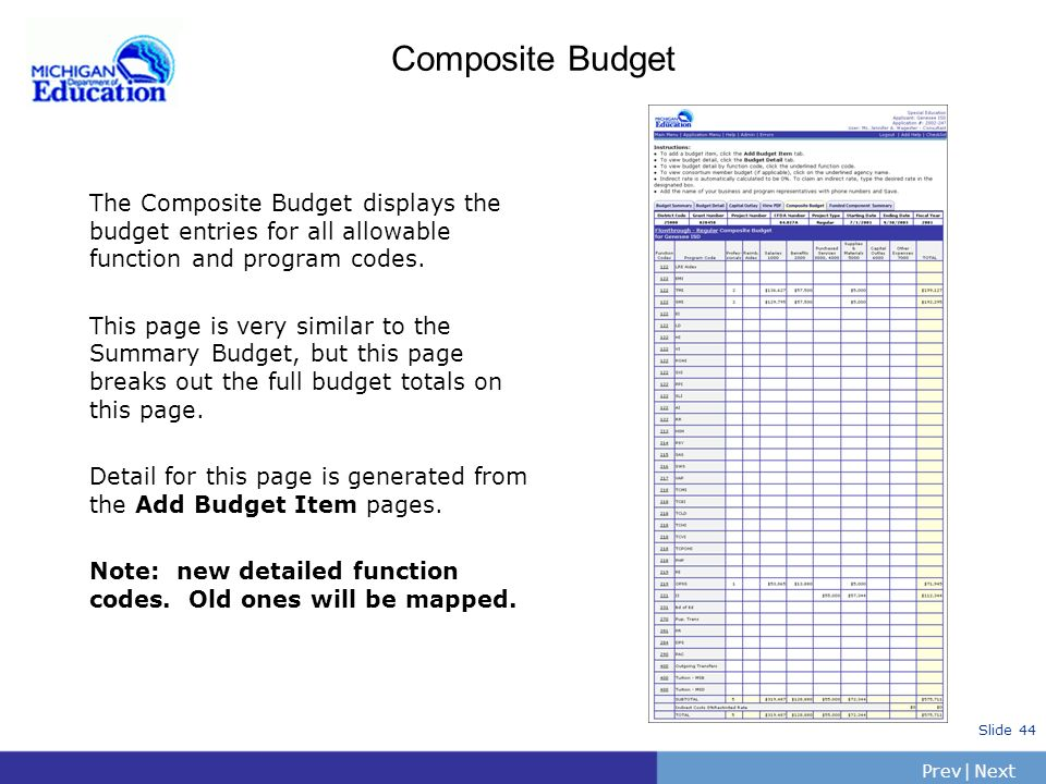 Composite Budget The Composite Budget displays the budget entries for all allowable function and program codes.