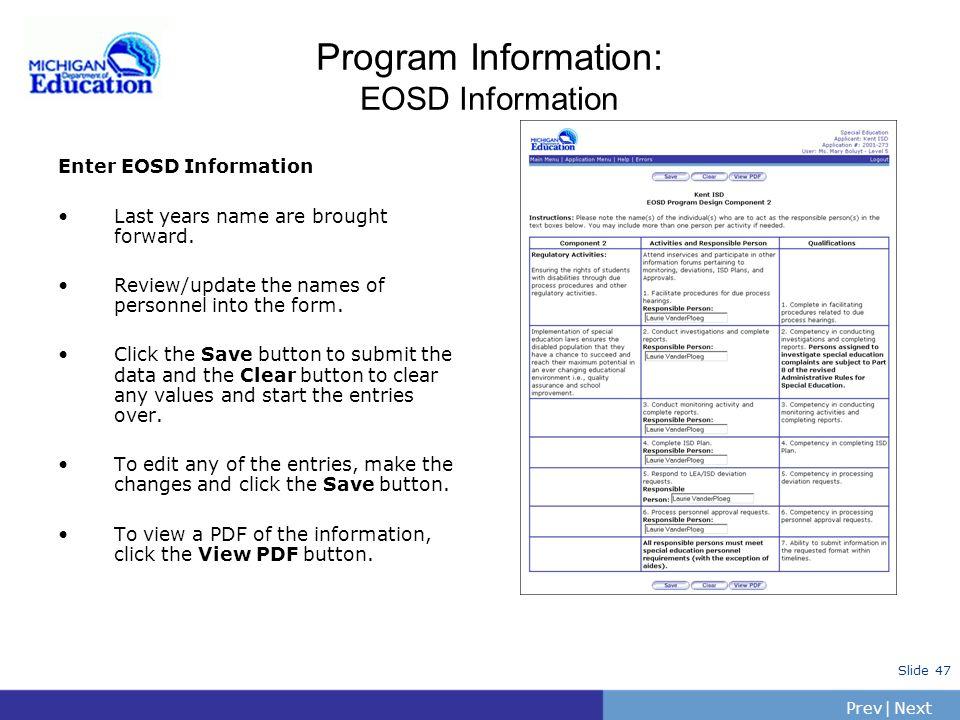 Program Information: EOSD Information