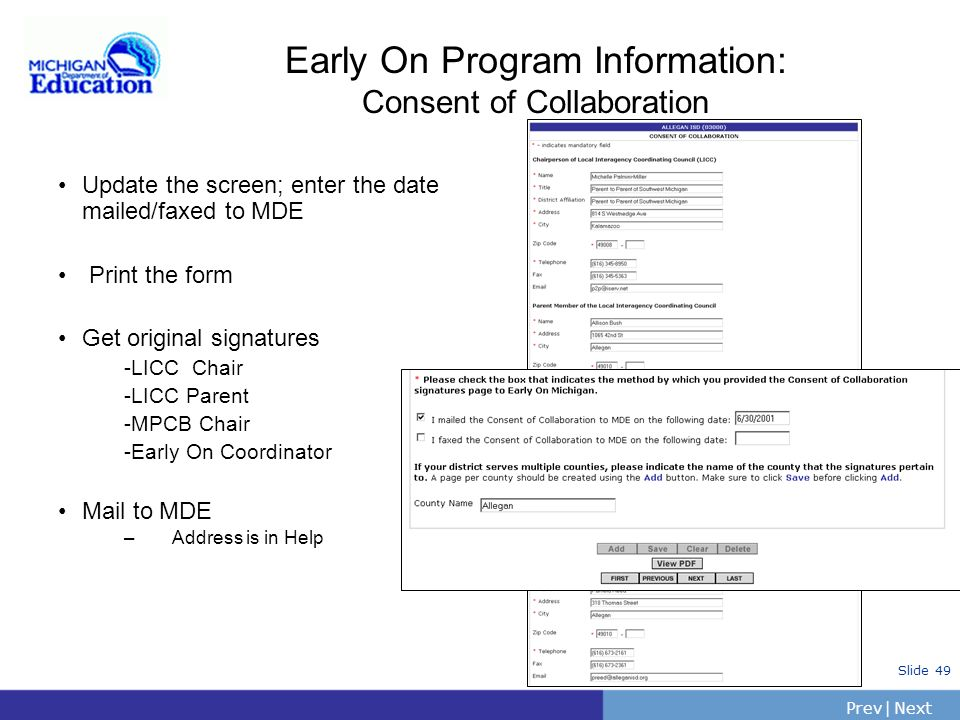 Early On Program Information: Consent of Collaboration