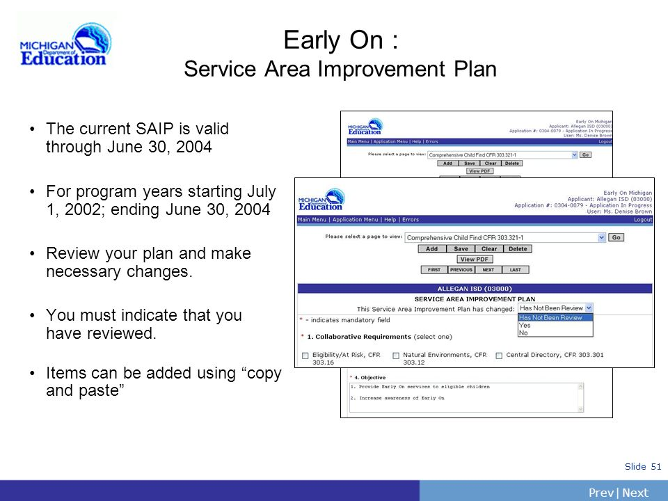 Early On : Service Area Improvement Plan