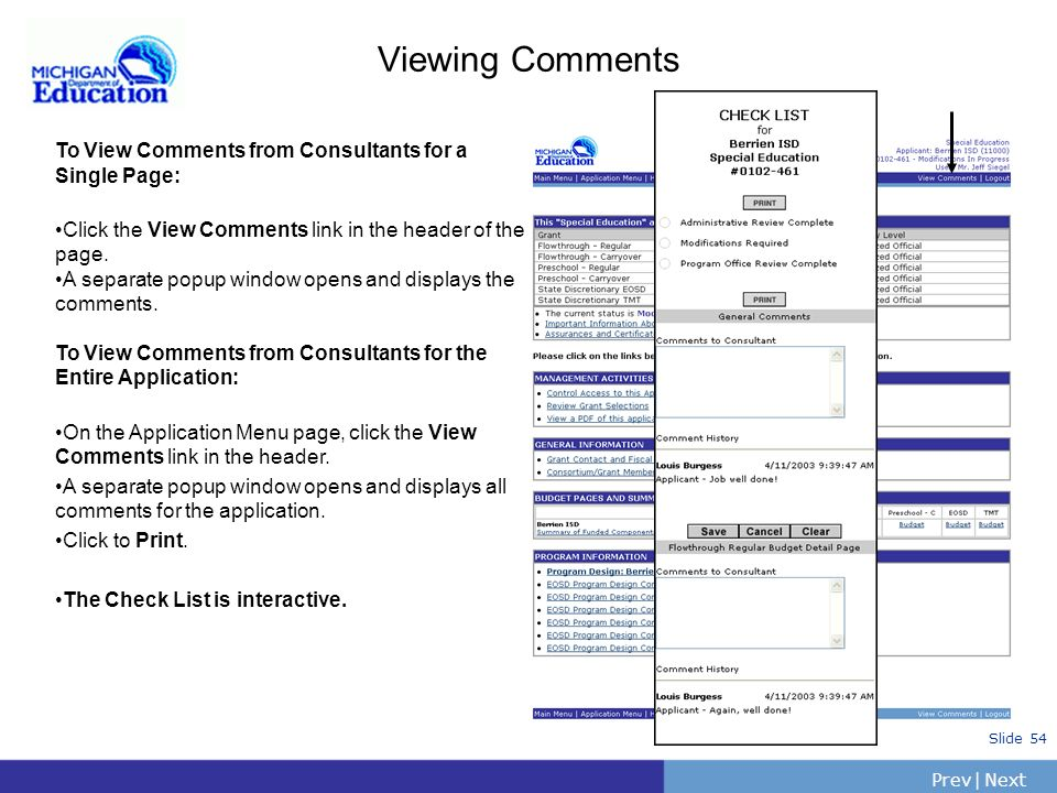 Viewing Comments To View Comments from Consultants for a Single Page: