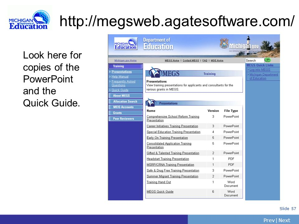 http://megsweb.agatesoftware.com/ Look here for copies of the PowerPoint and the Quick Guide.