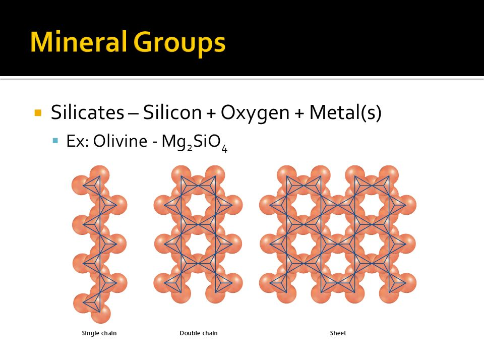 Mineral Groups Silicates – Silicon + Oxygen + Metal(s)