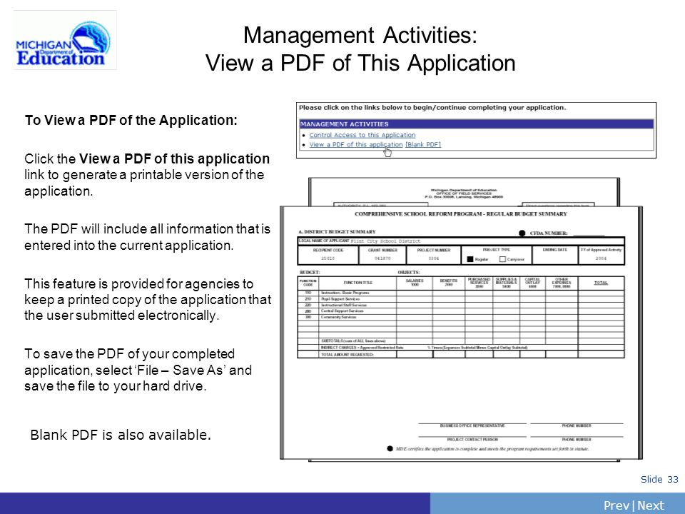 Management Activities: View a PDF of This Application
