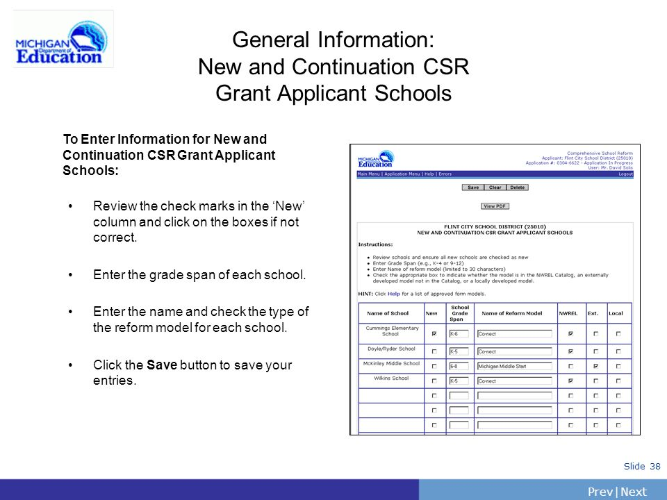 General Information: New and Continuation CSR Grant Applicant Schools