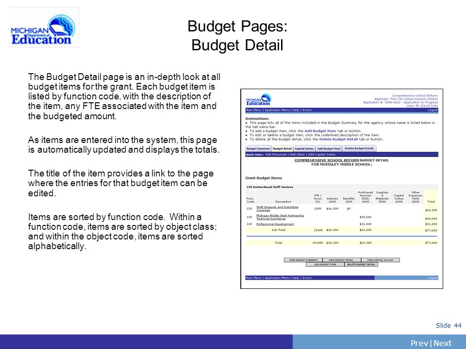 Budget Pages: Budget Detail