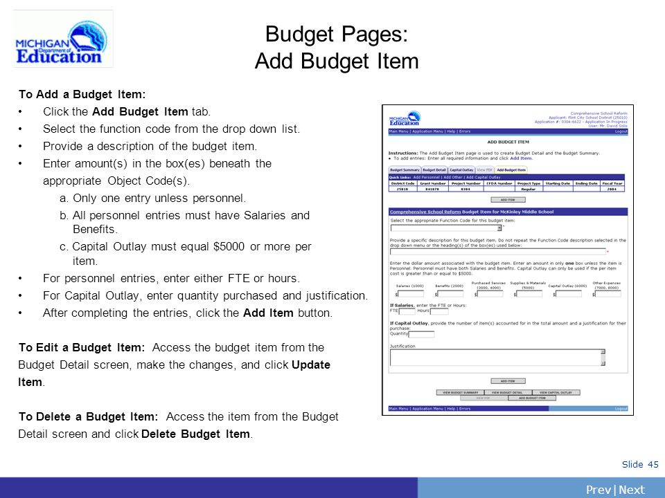 Budget Pages: Add Budget Item