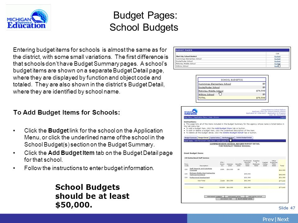 Budget Pages: School Budgets